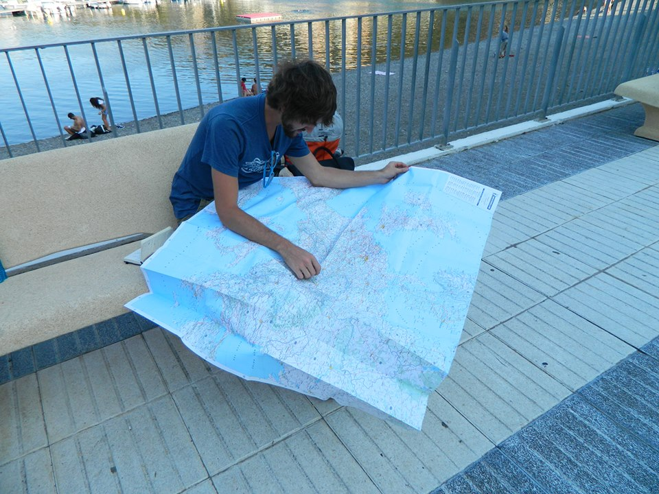 Tom Edwards from Tune Up and Travel planning his route in France (Image credit: Tom Edwards)