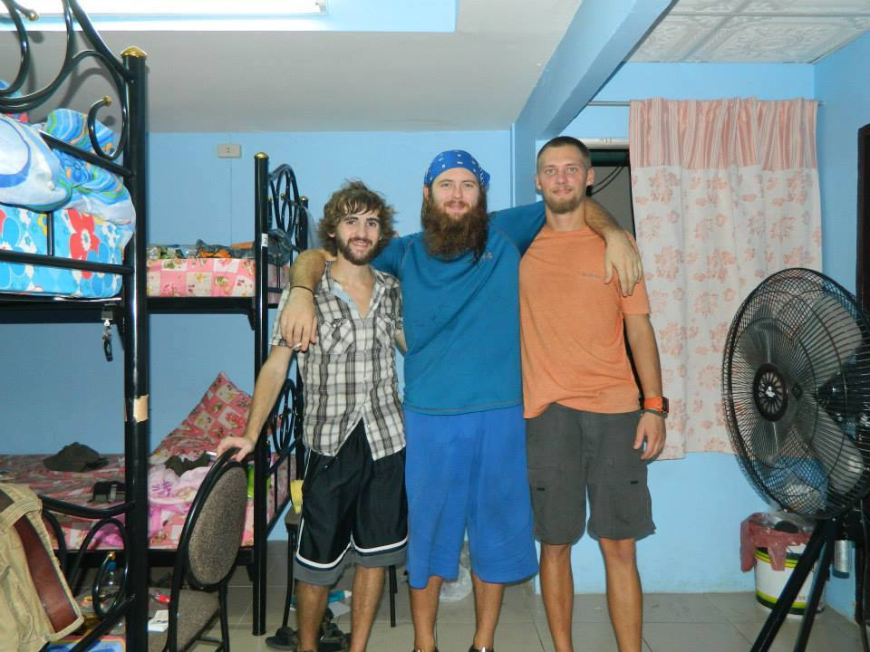 Tom from Tune Up and Travel and his travel buddies Aaron and Corey in Thailand (Image Credit: Tom Edwards)