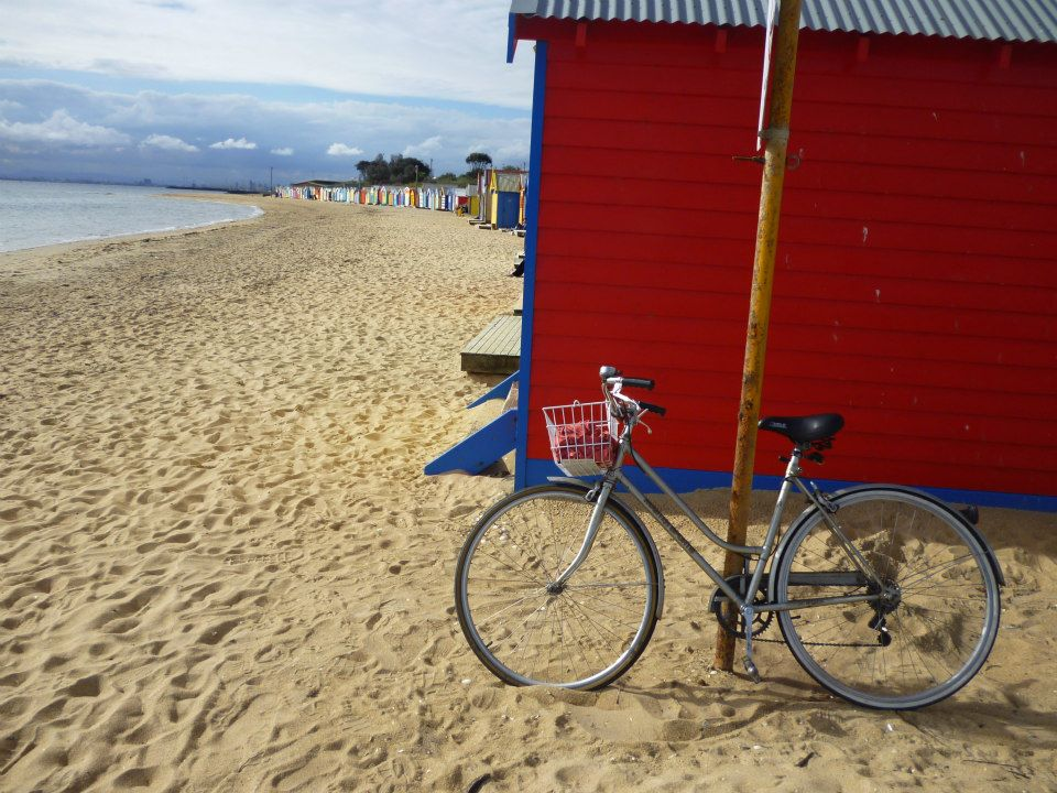 My humble vintage bike at the beach huts on Brighton beach