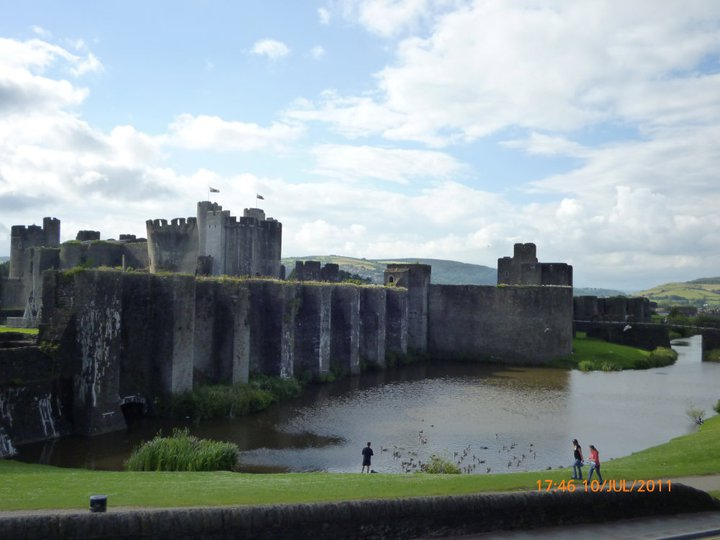 Caerphilly Castle, a short drive way from Cardiff in Wales