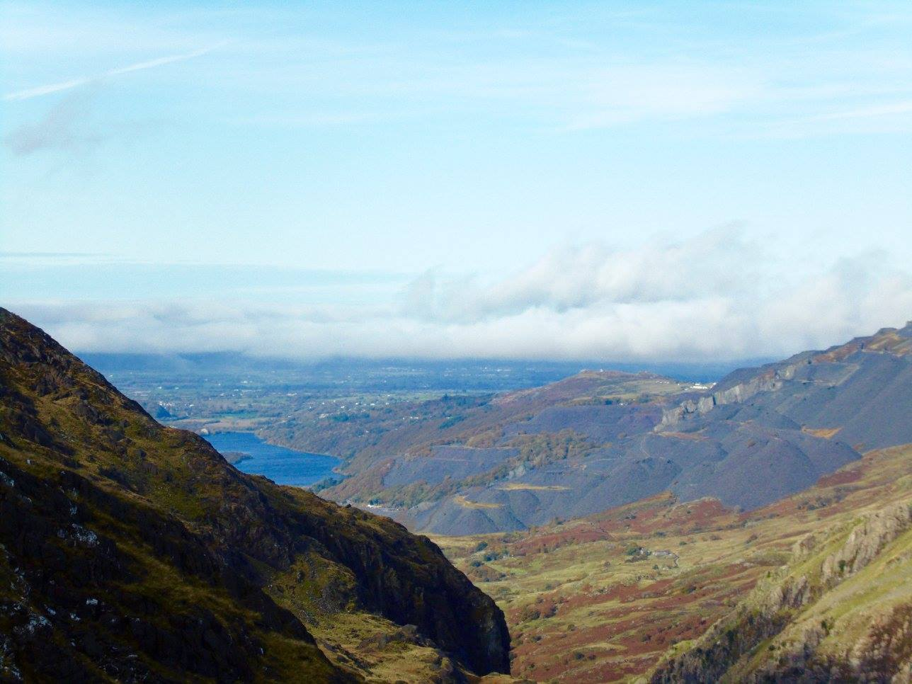 The stunning views, looking towards Bangor in Wales, from Snowdon