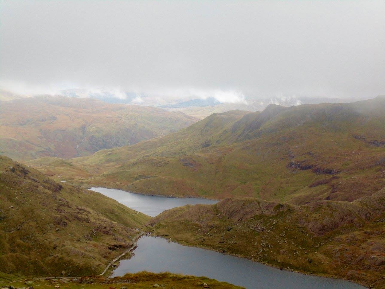 A view of the miners track, alongside the lake Llyn Glaslyn