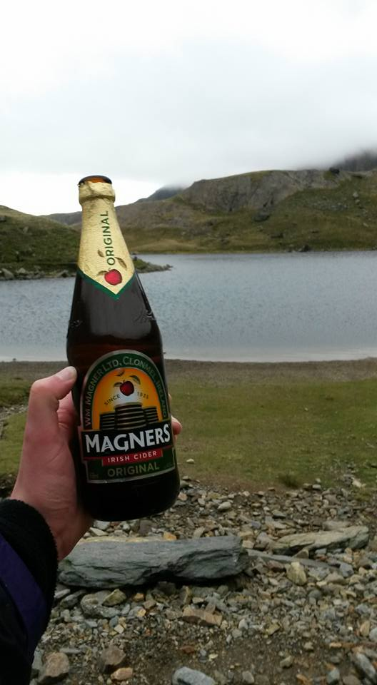 A celebratory cider at Llyn Glaslyn lake in Snowdon.