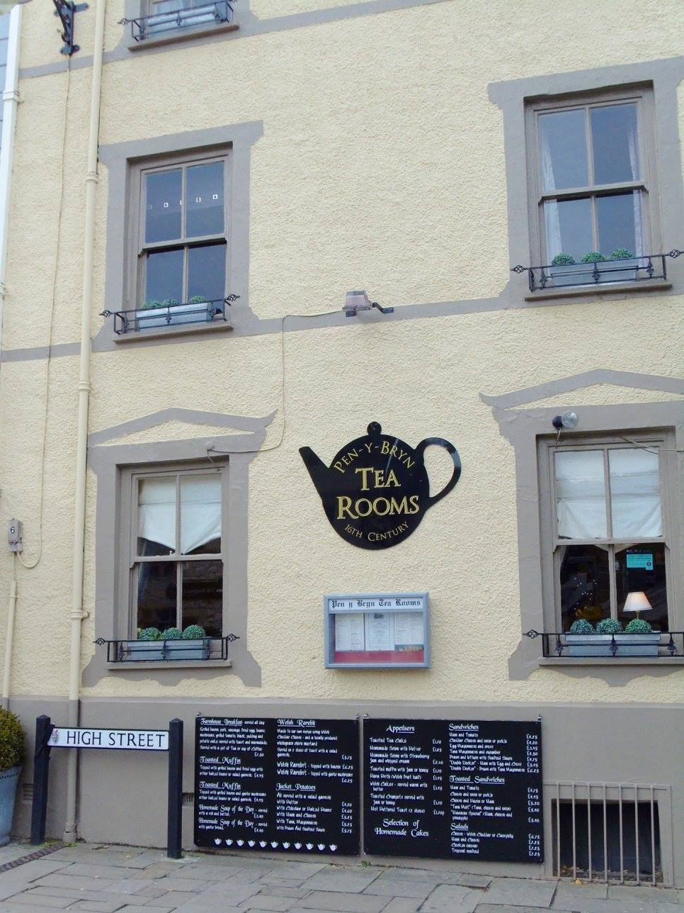 A tea room on the main street in Conwy, Wales