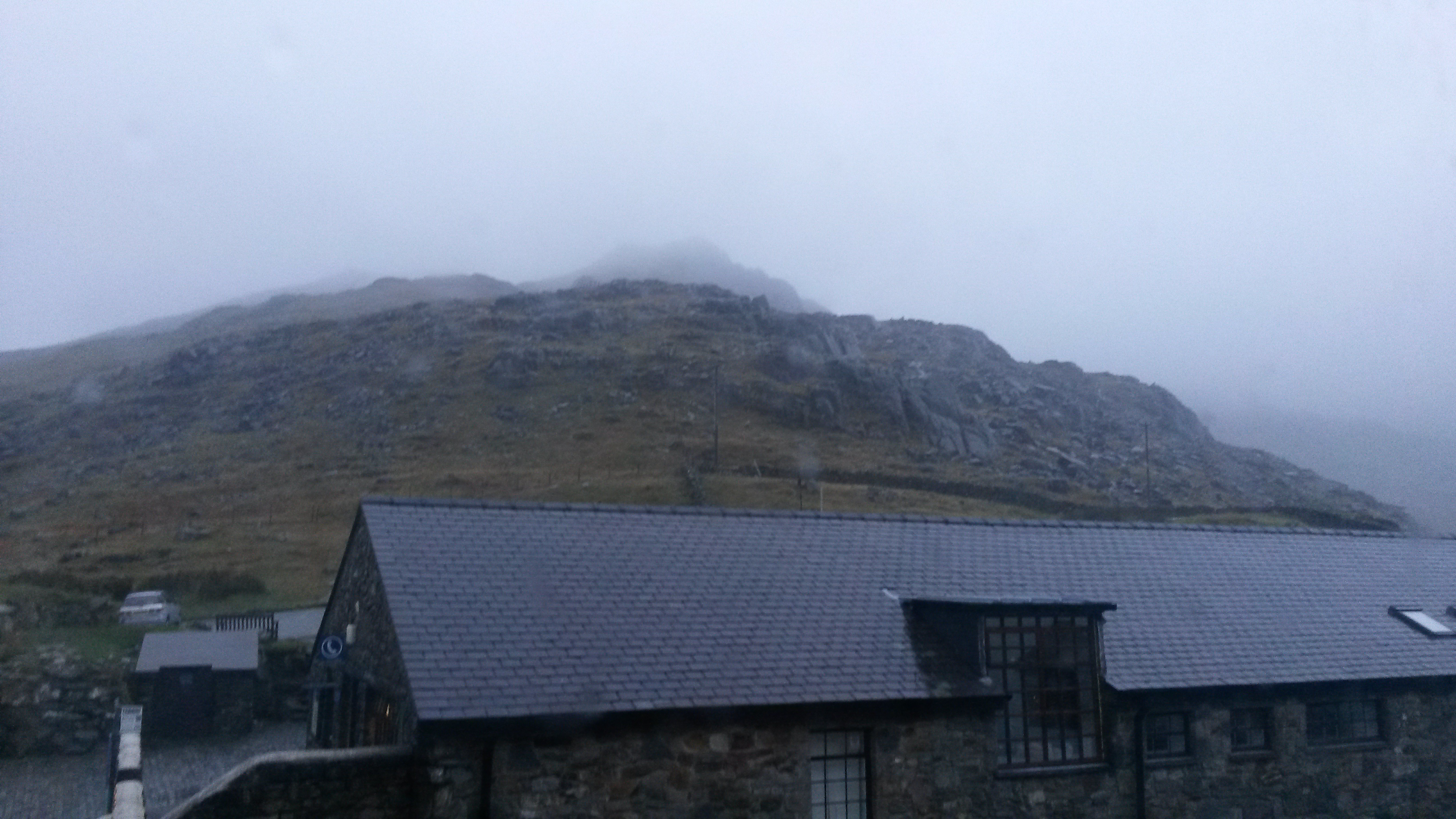The view of Snowdon from my dorm - overcast and wet