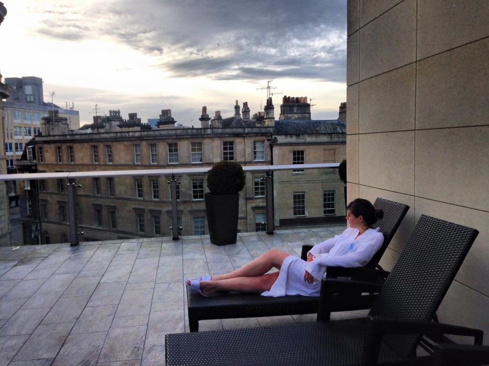 Watching the sunset on the balcony of Thermae Bath Spa, in Bath, England