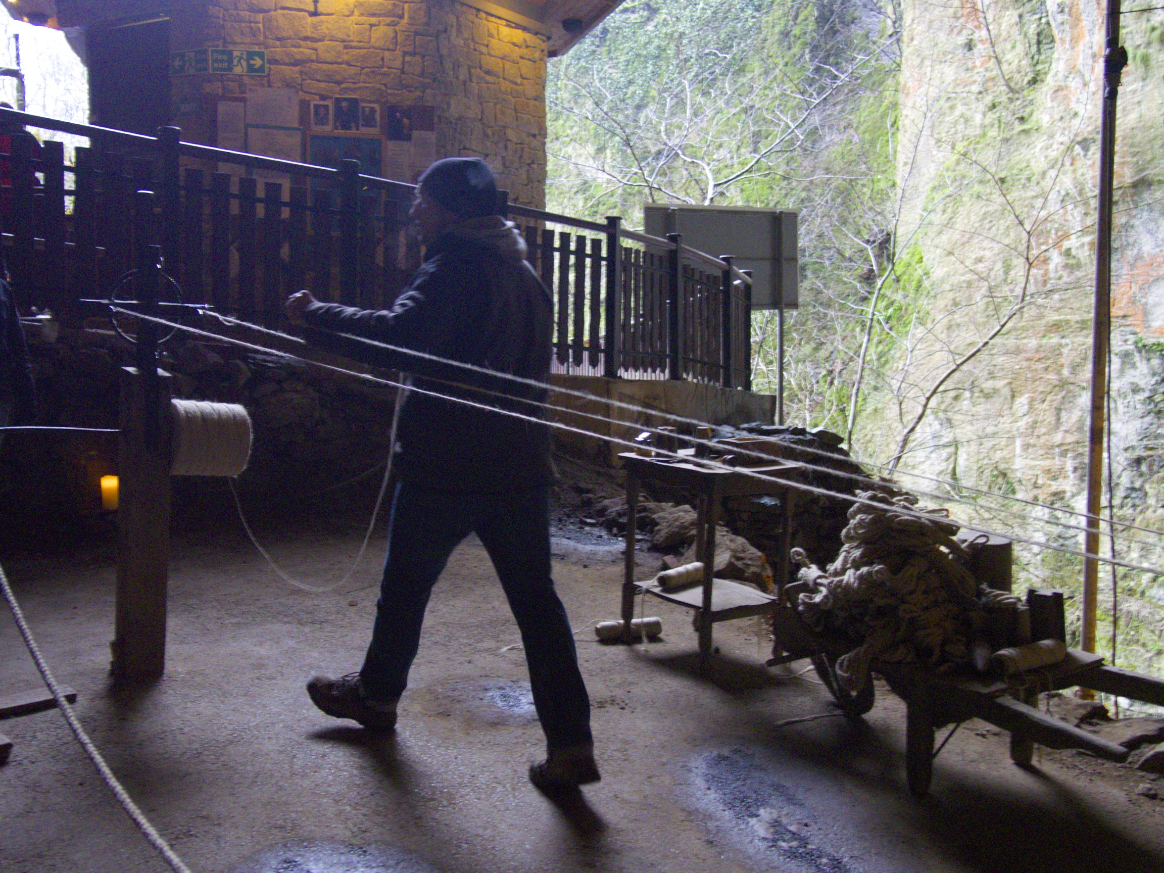 A demonstration of rope making, as part of the tour of the Devils Arse (Peak Cavern)