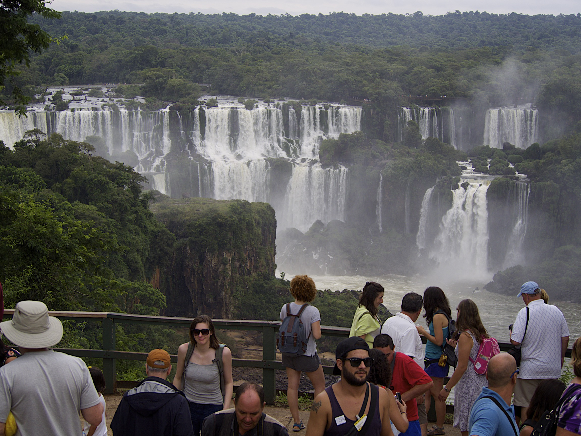Attempting to get a shot of myself at the Iguacu Falls in Brazil, but being drowned out by everyone else there.