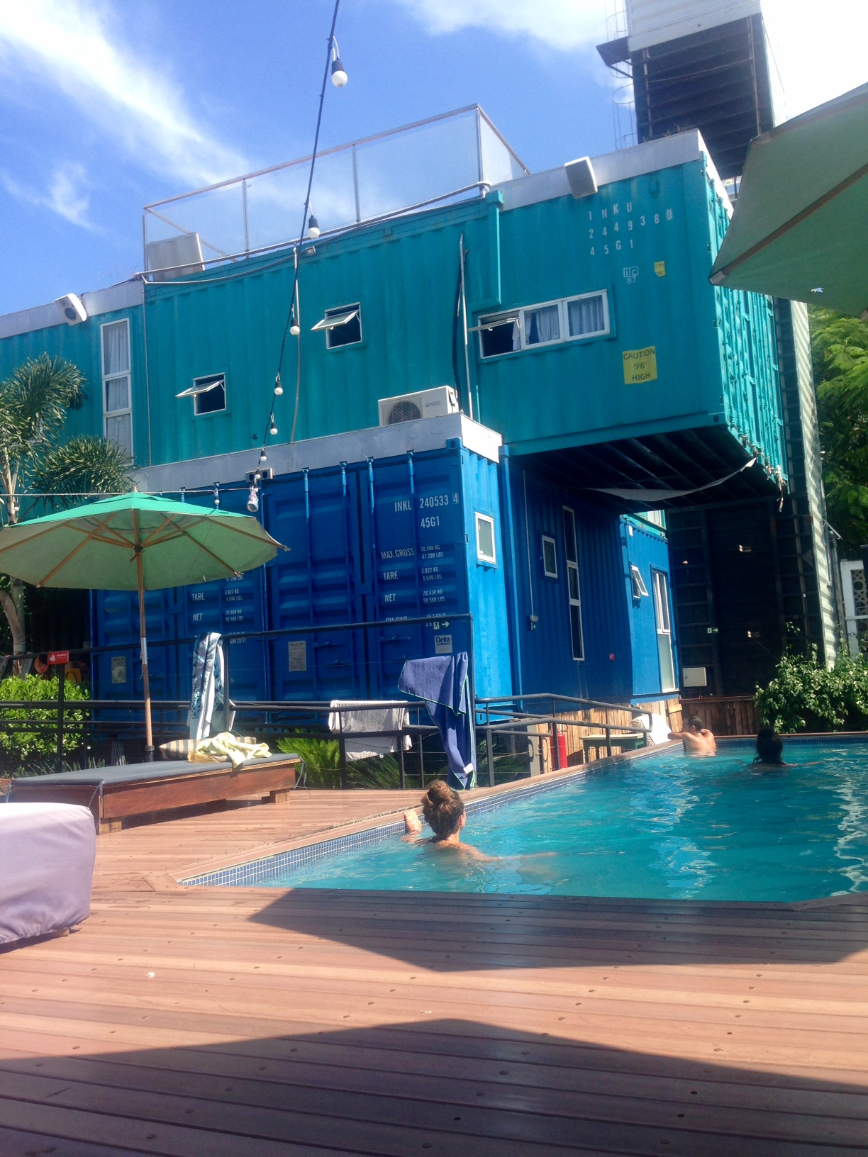 The pool at Tetris container hostel