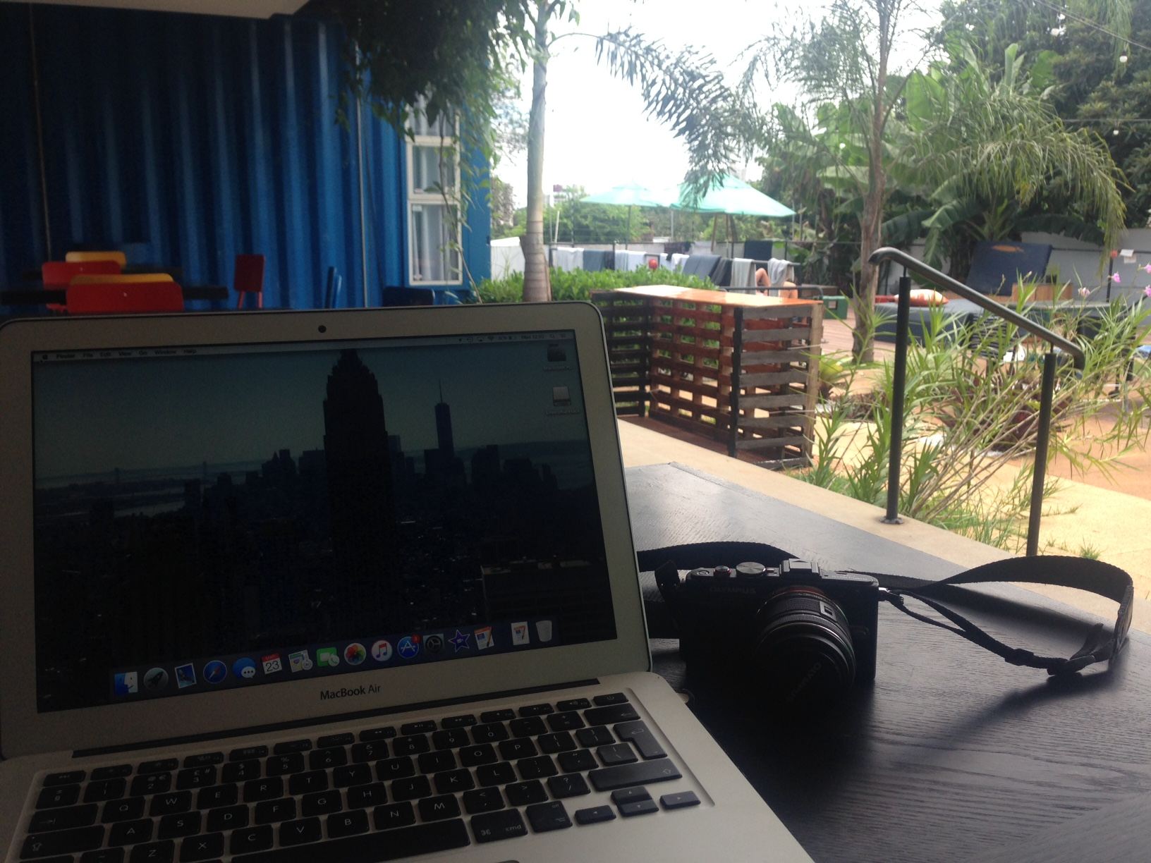 Catching up on some writing at the Tetris Container Hostel
