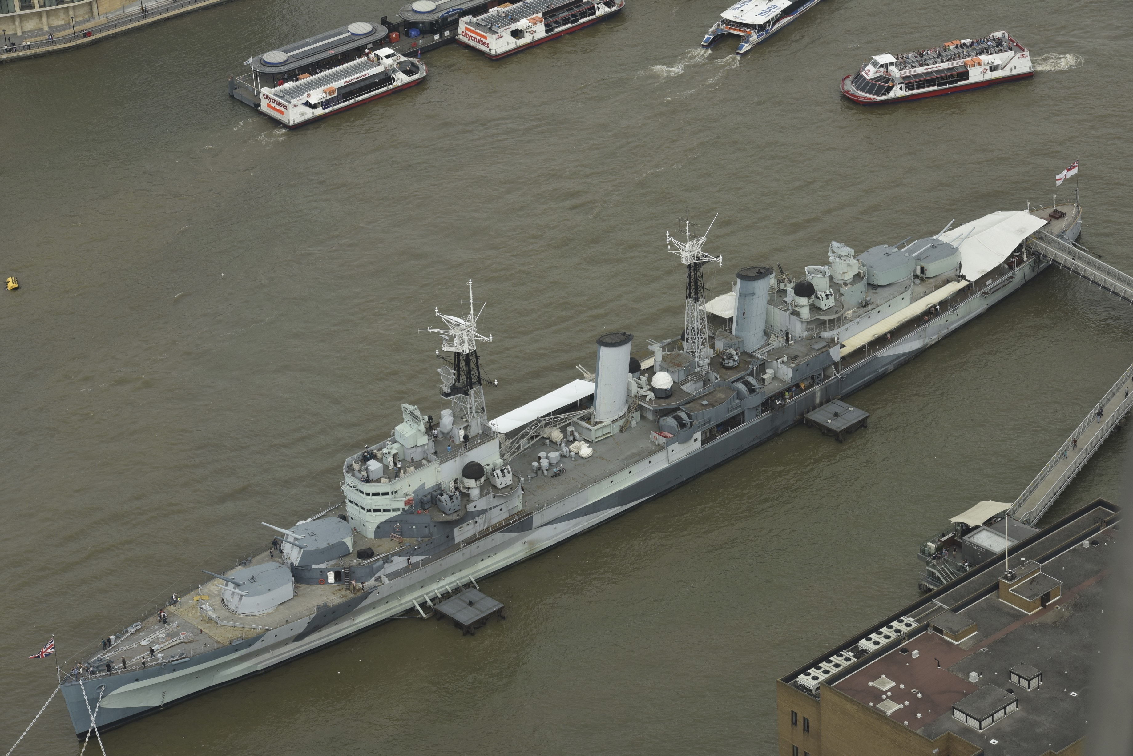 HMS Belfast Docked on the Thames, as pictured from the Shard