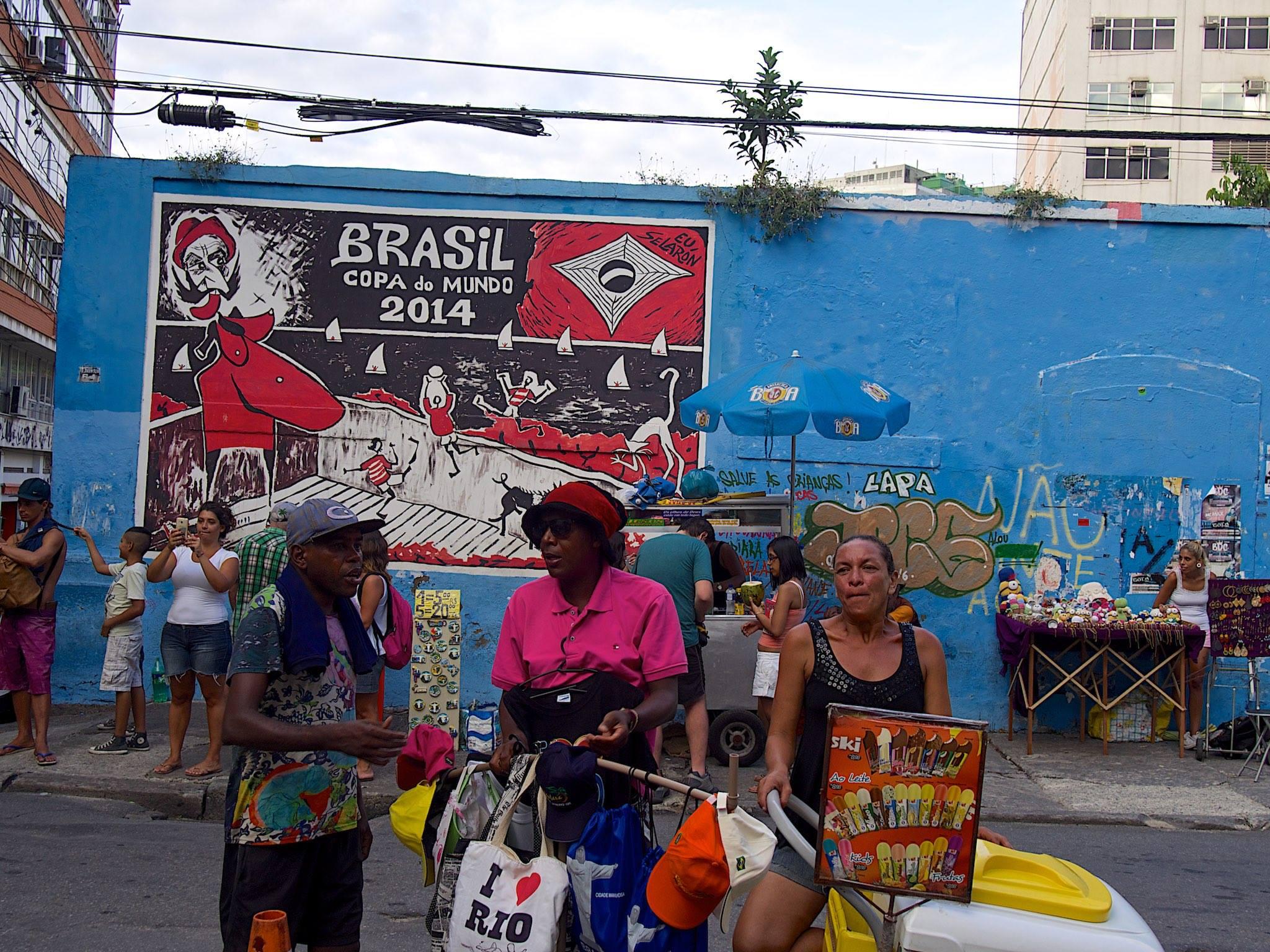 Street vendors in Lapa, Brazil